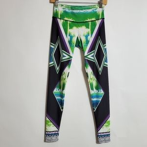 ONZIE black & green graphic leggings